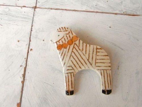 Sheep wooden brooch pin