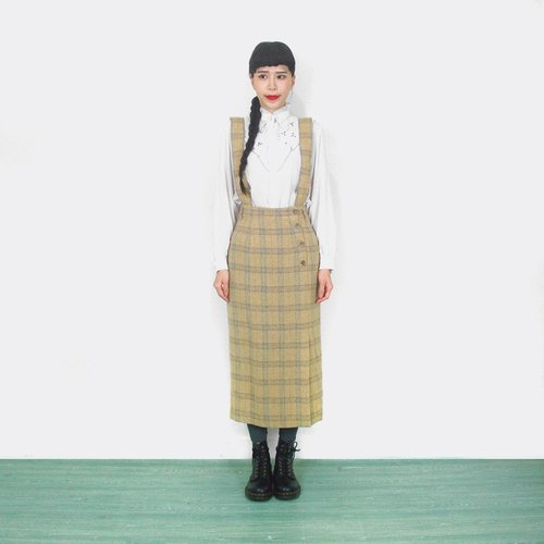 Beige wool skirt vintage high waist harness AI6003