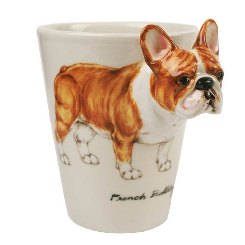 France French bulldog fighting [MSA] Blue Witch Mug British hand-painted glass ceramic cup brown French-Bulldog