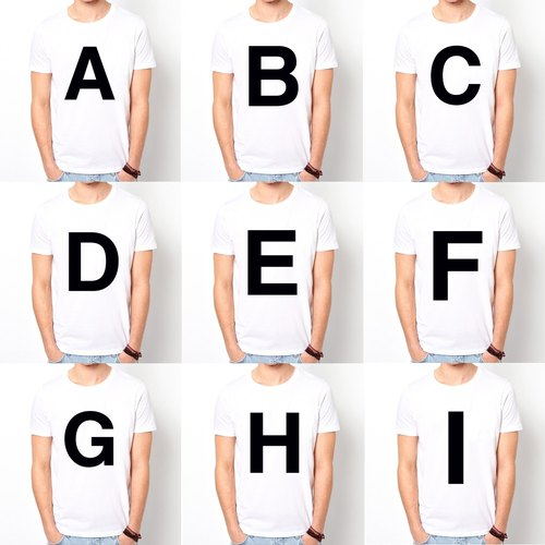 Big ABCDEFGHI short-sleeved T-shirt - White letters Wen Qing art design fashion fashionable word