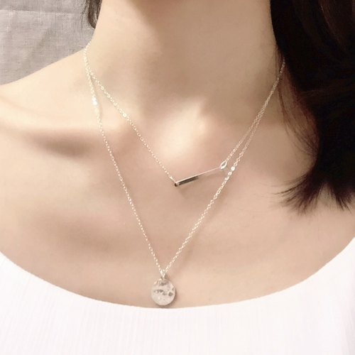 [Customized] 925 sterling silver necklace + small bar gold necklace