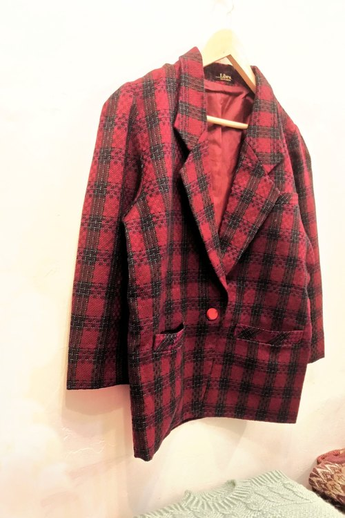 Cuori❄ neutral red and black checkered retro vintage pure wool blazer in Japan.