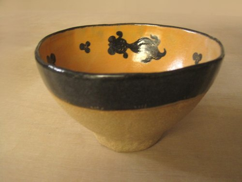 DoDo hand-made private message animal silhouettes series - pottery bowl goldfish (gold)