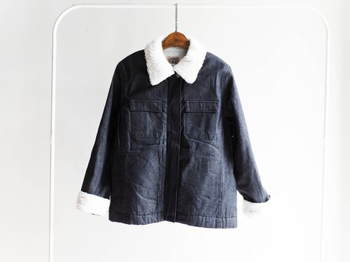 River Mountain - Moonlight quiet work deep black classic antique pocket edition type four thick lamb's wool denim jacket vintage denim pounds denim vintage oversize
