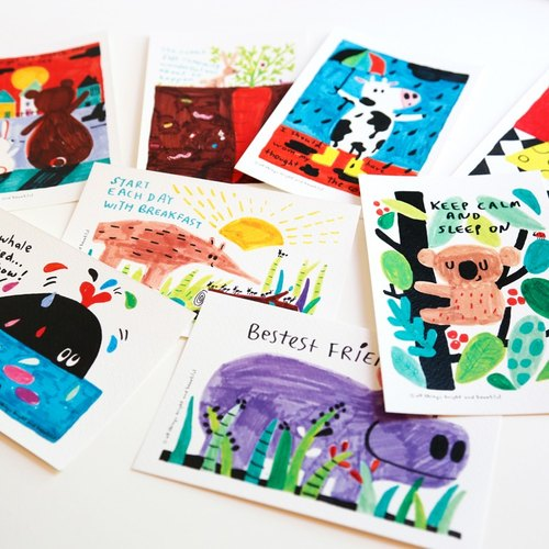 1 set of eight postcards Animal Animal story postcard set