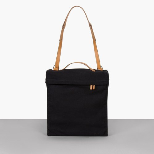 TREBLE Z / OnTheRoad canvas + cowhide messenger bag / shoulder bag black