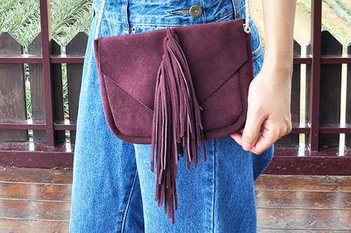 COWFT purple suede ponytail tassel bag
