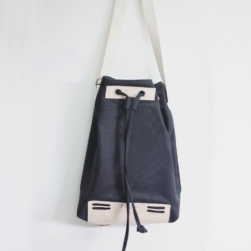 TIFUL - RIO - Handmade first layer of leather bucket bag Washed canvas shoulder bag simple dorsal women primaries