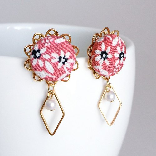 Flower Earrings with Japanese Traditional pattern, Kimono