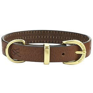 Wes [W & S] three-line leather collar XXL - black