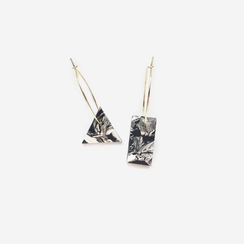 metooworkshop marble texture triangle geometric minimalism 24k gold earrings