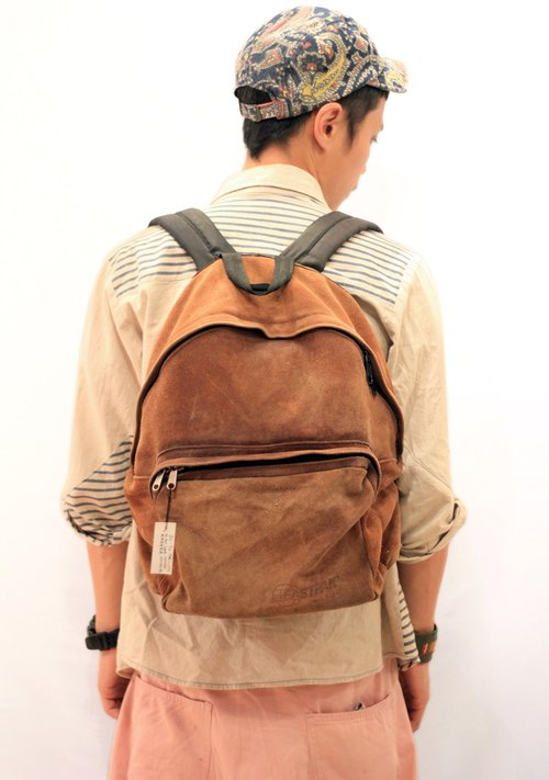 EARTH.er  :: Vintage系列 :: │90's 年代絕版美國製造EASTPAK全真皮背包 ● EASTPAK 90's Made in USA full real Suede Backpack│