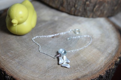 Aquamarine silver orchid silver plated bracelet