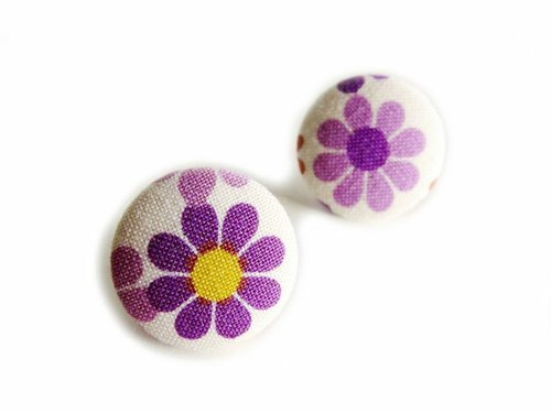 Purple flowers do cloth buckle earrings clip earrings