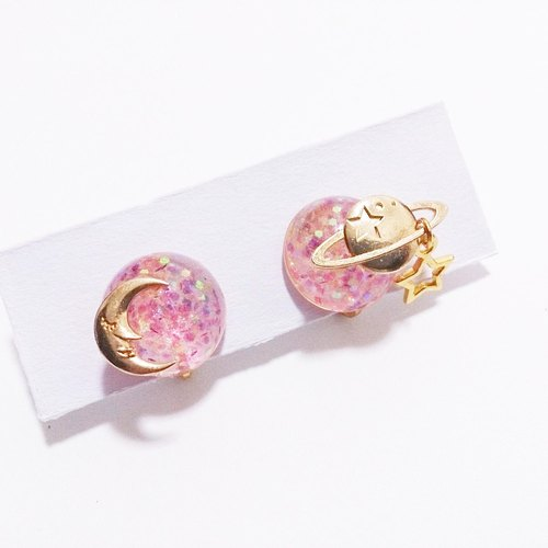 [The moon and the planet] Clip Earring