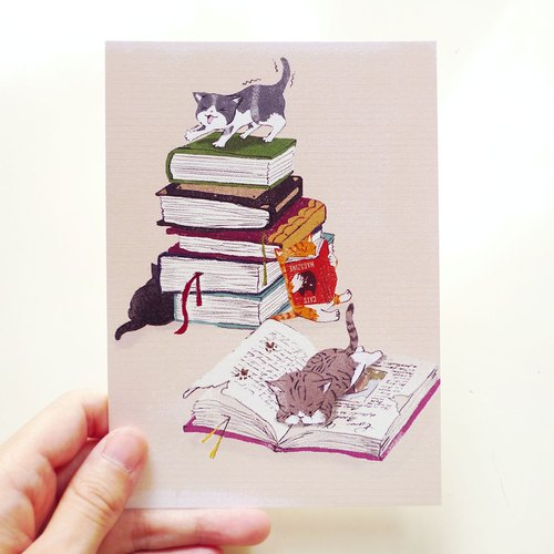 Postcards -1234 reading cat
