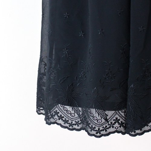 [RE0522D279] Japanese elegance to adjust black lace collar loose sleeveless skirt vintage dress