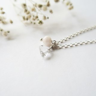 925 Silver Light-pink Morganite Crystal Necklace