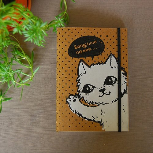 fish cat handmade leather notebook