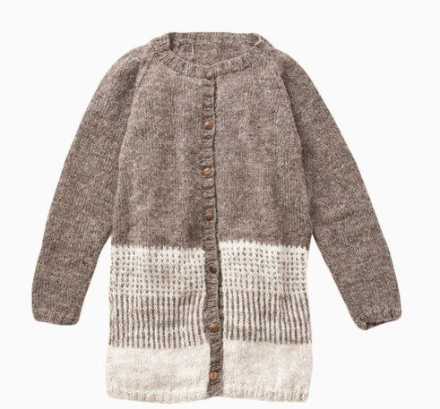 "Earth tree fair trade- ""hand-knitted wool Series"" - hand-woven wool striped jacket (light brown) Only one"
