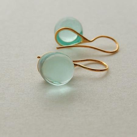 Drop glass earrings Aqua Blue