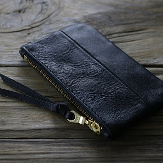"""CANCER popular laboratory"" black leather universal pocket 2.0 (small) - pocket money cloth / wallet (black)"