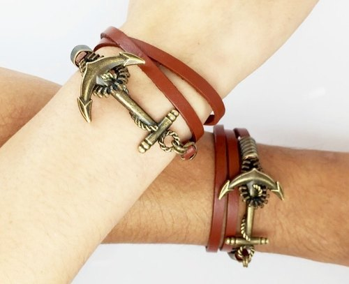 Anchor bronze buckle leather cord (Valentine's Day Collection) - a set of two