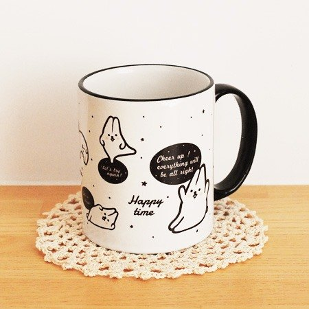 * Mori Shu * mochi rabbit minimalist black and white mug (cheer slogans paragraph)