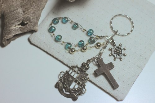 Love Faith - Cross compass colorful beaded key ring set