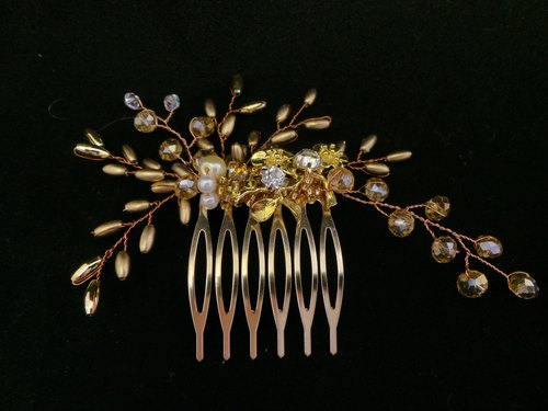 Put on a happy golden ornaments rice-based series. - Self bride comb wedding hand-made bridal headdress