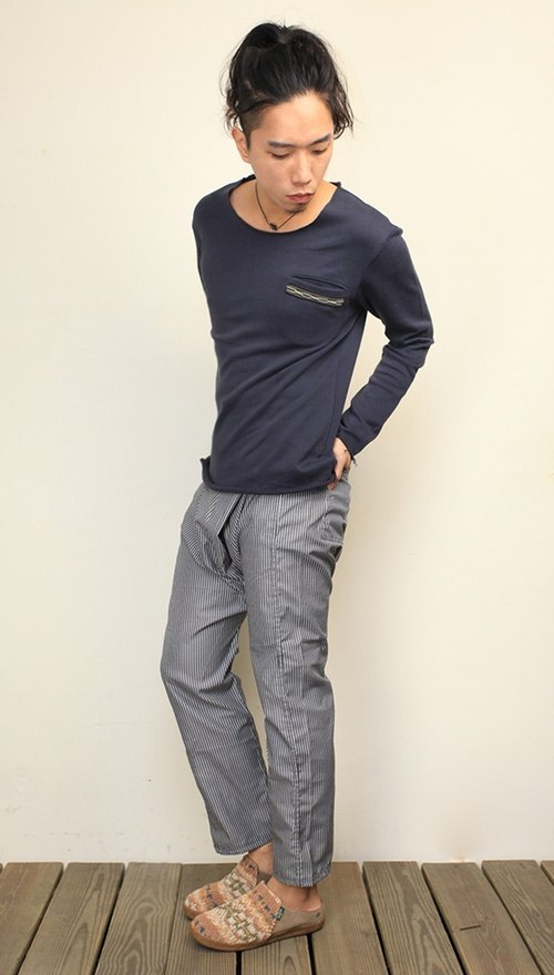 Omake winter fisherman narrow tube pants - striped cloth / cotton