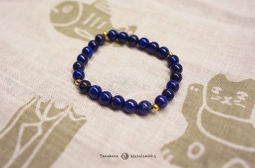 ☽ Qi Xi hand for ☽ [07159] 6mm brass beads of lapis lazuli +4 stars