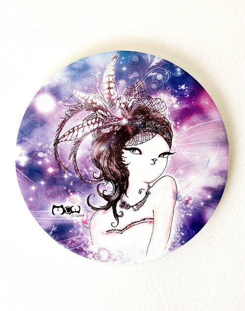 喵 喵 kawaii かわいい hand-painted ceramic absorbent coaster ~ fashion cat