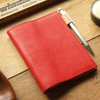 Leather Book Sleeve A6 ( Custom Name ) - Coral Red