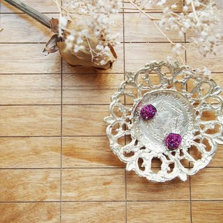 EC038 simple custom hand knitting circle wonderful purple grapes copper earrings with gold beads translucent Hainan Jia