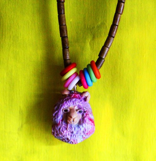 [Moses's warehouse] Nima grass alpaca purple wood bead necklace