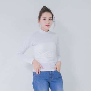 Cozy High Collar Elastic Slim Top _5AF004_White