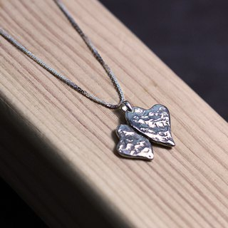 Double love texture 925 silver necklace