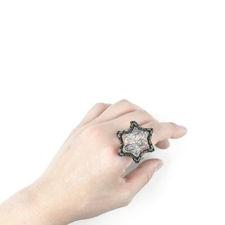 SUE BI DO WA - handmade leather and close the hand-woven ring of stars (mixed white) -Leather mix with yarn Star Ring