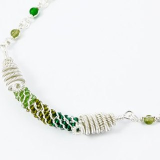 Getting green crystal gold necklace