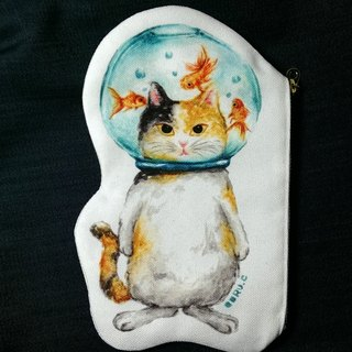 Cat in Goldfish Glass Bowl★Bag / Pencil Case