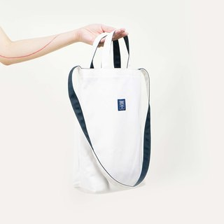 ::Bangstree:: two-colored reversible canvas bag -White+DarkBlue