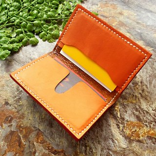 [Mania] ANITA hand-made classic minimalist bright orange double leather business card holder - Limited