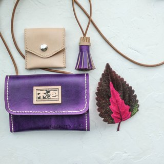 Do not hit the package grape Violet plus one vegetable tanned leather full leather multi-functional clutch