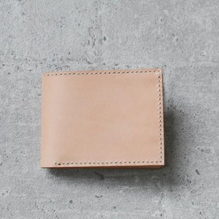 nude color vegetable cow hide leather wallet