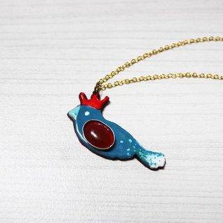 Lucky bird enamel diamond necklace (green bird) left a