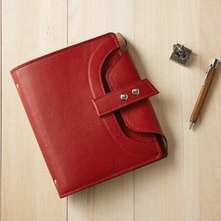 Cycle Life Series: Deep Cherry Red Leather 6 Hole A5 Loose-leaf Notebook
