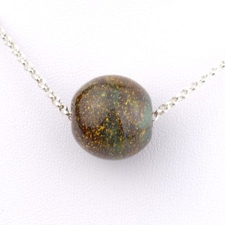 Venus Ball Handmade Lampwork Glass Sterling Silver Necklace