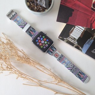 Apple Watch Series 1, Series 2 and Series 3  - Colorful Tribal Pattern Printed on Genuine Leather for Apple Watch Strap Band 38 / 42 mm - 10