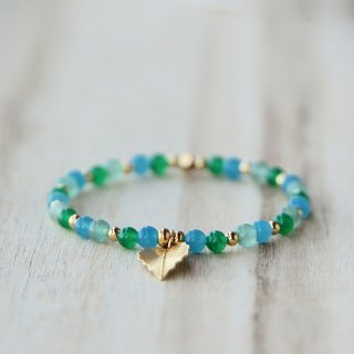 ITS-868 [natural stone series, wilderness] blue agate / green Aventurine / jade / copper plated bracelet.